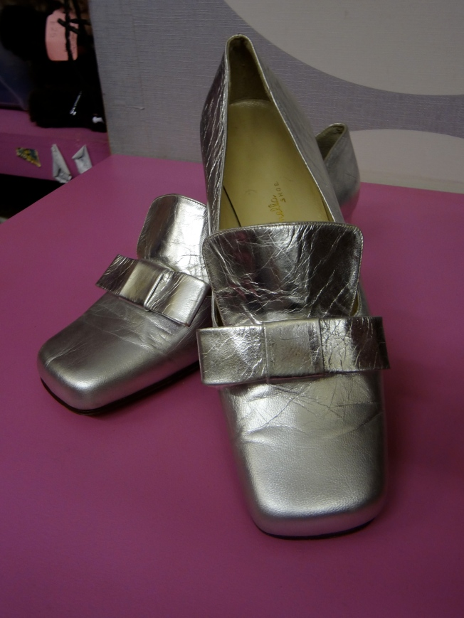 1960's never worn with leather sole silver shoes