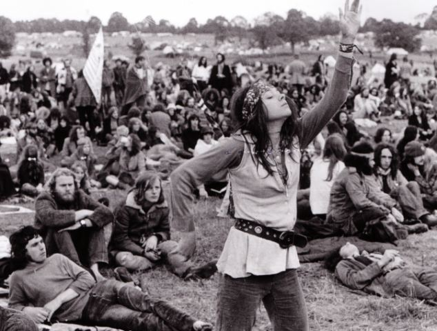 Glastonbury Music Festival in Pilton, Somerset, [Circa. 1960/197